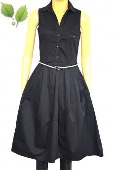 Zara czarna bawełniana rozkloszowana sukienka midi S