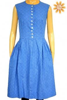 Błękitna sukienka midi vintage w mini serduszka M