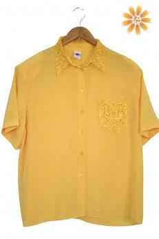 Koszula vintage z koronkowym kołnierzykiem L XL XXL