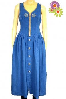 Cudna sukienka midi vintage z apliakacjami S