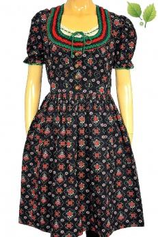 Unikatowa lniana sukienka vintage midi w tancerki krakowianki M