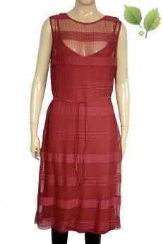 H&M Nowa Drobno plisowana czerwona siateczkowa sukienka M