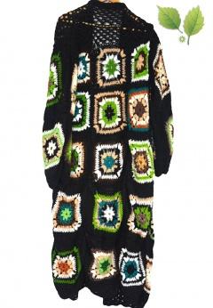 Patchworkowy maxi kardigan płaszcz L XL