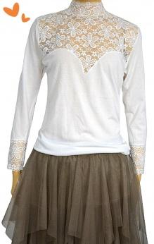 Speidel Lingerie elegancka biała bluzka longsleeve ze wstawkami z koronki i stójką M L