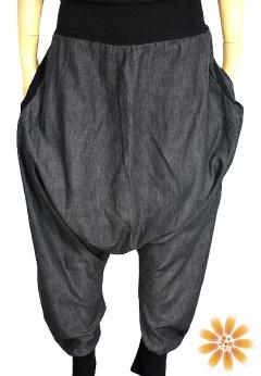 Czarne spodnie baggy z obniżonym krokiem i kieszeniami M L XL