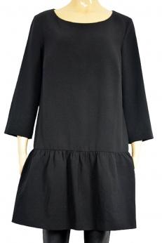 Czarna sukienka midi z falbanką o super kroju M L