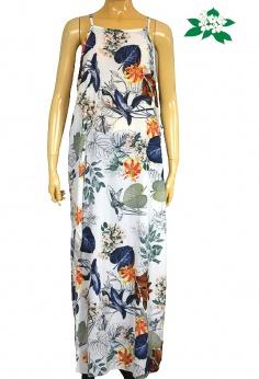 Letnia prosta sukienka maxi w roślinne wzory L
