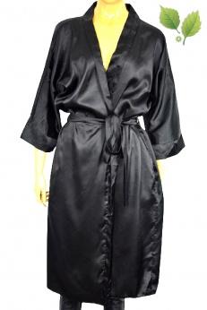 Elegancki czarny satynowy kimonowy szlafrok M L XL