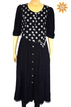 Szenilowa sukienka midi vintage w stokrotki M
