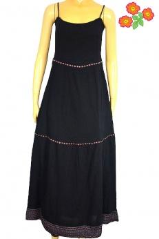 Letnia długa maxi sukienka boho ze zdobieniem S M