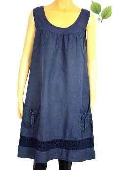 Granatowa lniana sukienka z kieszeniami i ażurowymi wstawkami M