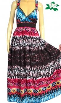 Nowa długa maxi sukienka boho w azteckie wzory L