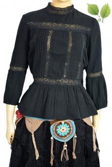 Zara bluzka w stylu wiktoriańskim ze stójką i wstawkami z koronki L