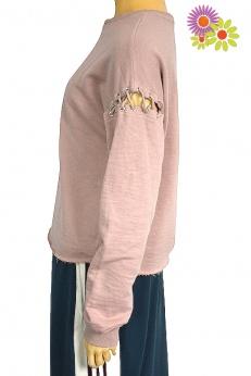 Pudrowa bluza ze sznurowaniem na rękawach M L