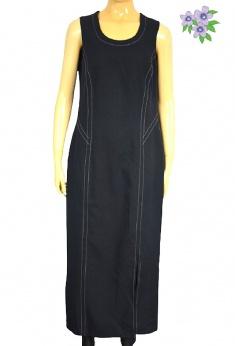 Długa czarna sukienka vintage z jasnymi przeszyciami S M