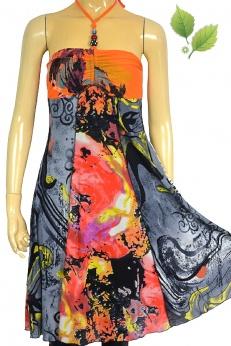 Letnia rozkloszowana sukienka midi we wzory XS S