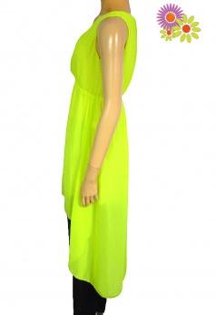 Letnia asymetryczna sukienka midi fluo S