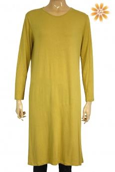 Musztardowa prosta sukienka midi z wiskozy S M