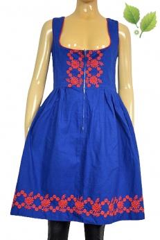Lniana haftowana sukienka midi boho S