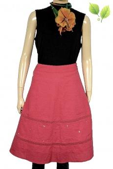 Vero Moda spódnica midi fuksja ażurowe wstawki XS S