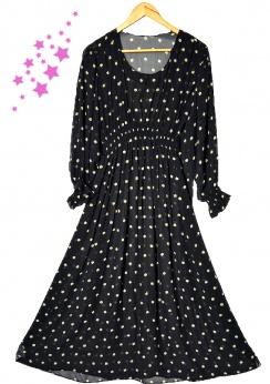 Długa szyfonowa sukienka vintage w gwiazdy S M L