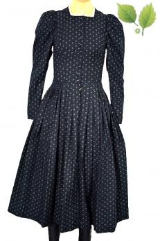 Teatralna sukienka midi vintage z bufiastymi ramionami XS
