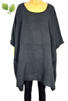 Włoska szeroka lniana grafitowa sukienka oversize