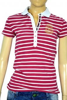 Tommy Hilfiger tshirt polo w malinowo białe paski  XS S M