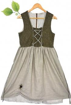 Lniana sukienka vintage z kwiatową aplikacją S