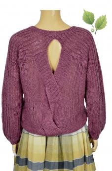 Asymetryczny sweter w kolorze wrzosu z warkoczem S M L
