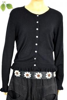 Apart czarny sweter kardigan z falbankami M L