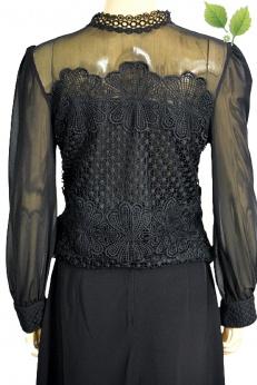 Perełka Vintage unikatowa bluzka bluza w stylu wiktoriańskim gotyckim z gipiurą S M L