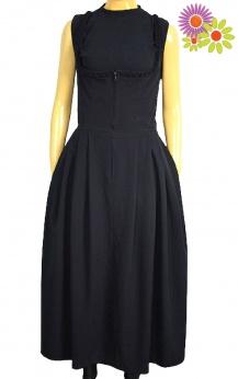 Czarna sukienka midi vintage S M