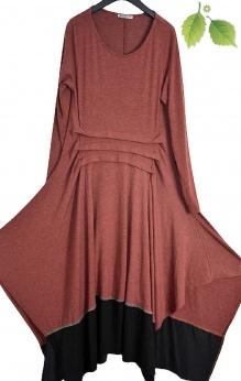 Artystyczna sukienka vintage z odstającymi bokami S M