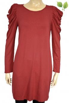 Czerwona sukienka z wiskozy z bufiastymi ramionami S M