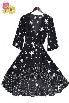 Nowa kopertowa sukienka midi w gwiazdy i grochy S M