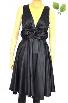 Satynowa sukienka vintage ze zdobieniem w kształcie kwiatów S