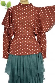 Nowa bluzka w grochy z dużymi falbanami na ramionach S