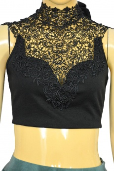Krótki koronkowy crop top w stylu wiktoriańskim S M