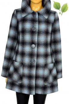 Warehouse jesienny płaszcz w kratkę z domieszką wełny S M
