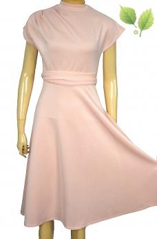 Nowa rozkloszowana sukienka midi z drapowaniem S M