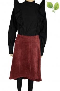 Skórzana zamszowa asymetryczna spódnica midi M L