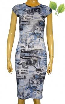 Sukienka ołówkowa midi pop art amerykańskie wzory XS