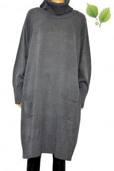 Dłuższa szara sweterkowa sukienka z kieszeniami M L XL