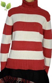 Ciepły bawełniany sweter z golfem w pasy S M L
