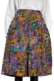 Piękna malarska spódnica midi vintage z kontrafałdą L XL