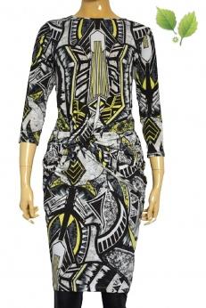Drapowana dopasowana sukienka w geometryczne wzory S M