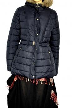 Ciepły pikowany płaszcz z kapturem M L