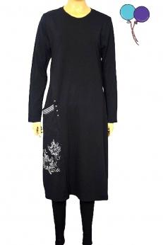 Sukienka z bawełny dresowej w liście S M